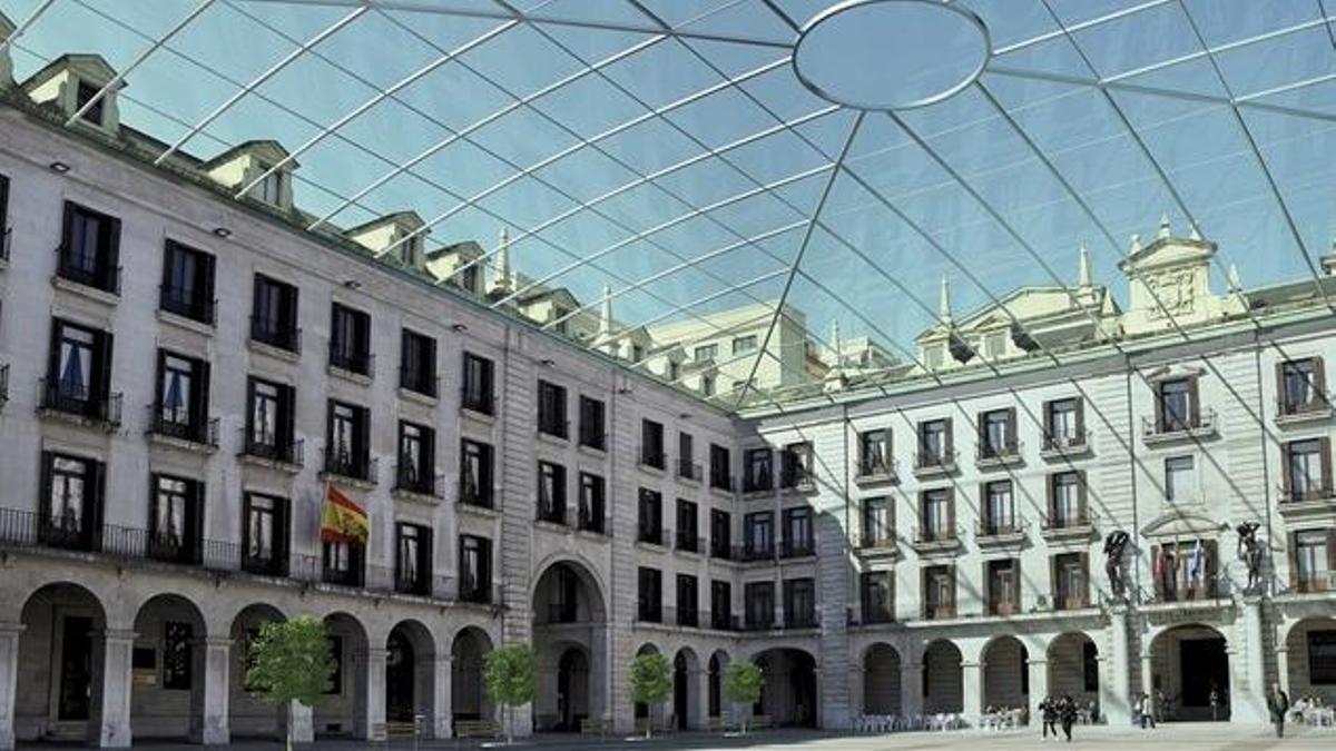 Infografía sobre el posible nuevo aspecto de la Plaza Porticada.
