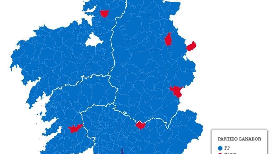Ganador elecciones gallegas, municipio a municipio