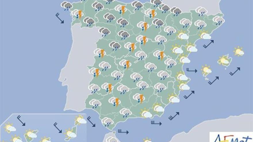 Lluvias generalizadas y viento fuerte en Andalucía y Baleares