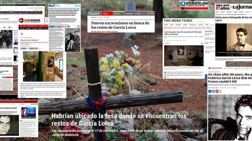 Mosaico con reportajes sobre Lorca en la prensa internacional.