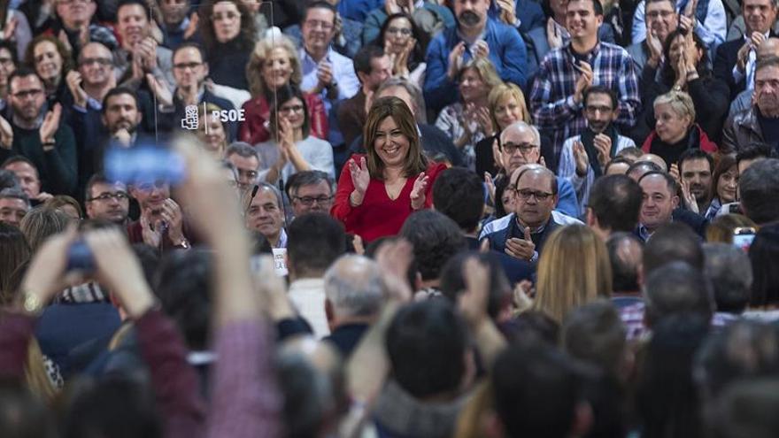 Susana Díaz en el acto celebrado en Madrid al que han asistido cientos de alcaldes.