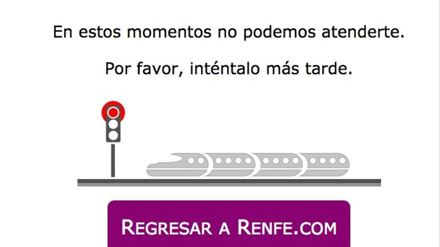 La web de Renfe, caída.