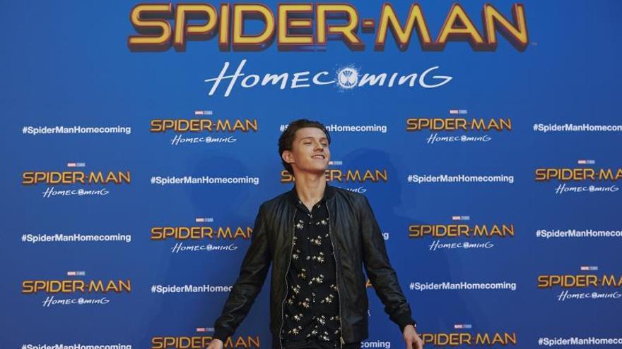 El actor Tom Holland durante la presentación de la película 'Spiderman: Homecomming', en Barcelona.