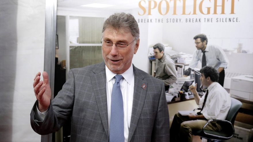 "El periodista y actual editor del Washington Post, Marty Baron, durante la presentación de ""Spotlight"""