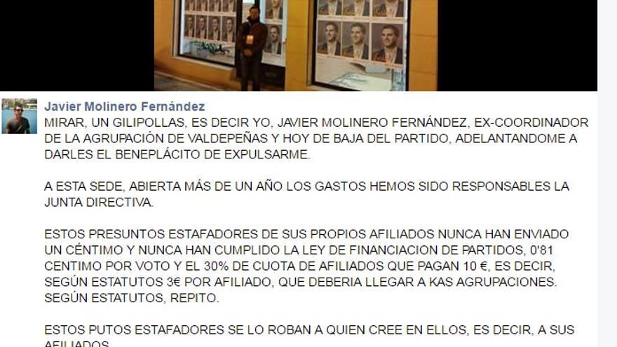 Perfil en Facebook de Javier Molinero