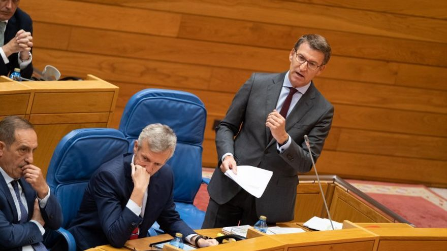 Feijóo, en la sesión de control a la Xunta de este miércoles en el Parlamento de Galicia