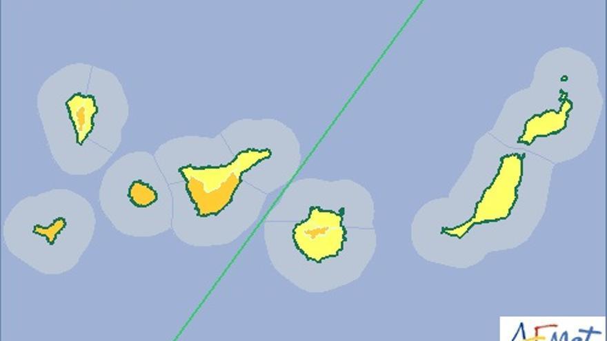 Mapa de la Aemet de riesgo por lluvias actualizado este sábado, 24 de octubre de 2015.
