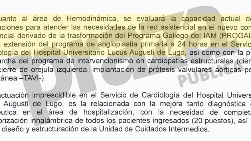 Referencia a la unidad de hemodinámica del HULA en el convenio con Medtronic