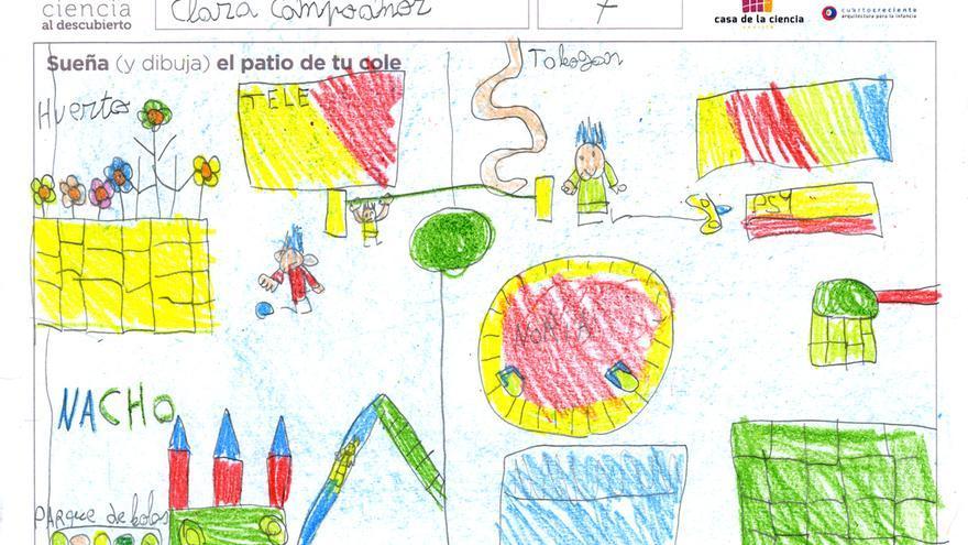 Dibujo de participante en la actividad '¿Cómo te gustaría que fuese el patio de tu cole?'