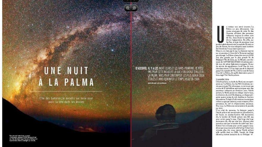 Las dos dos primeras páginas del reportaje del diario belga L'Echo dedicado a La Palma.