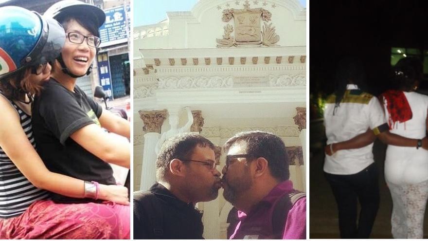 Yen y Huong, Gerardo y Rafael, y Qwin Mbabazi y Julz comparten con eldiario.es su experiencia como parejas LGTB. / Imágenes cedidas.
