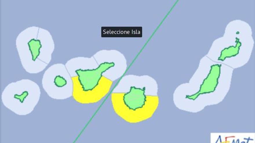 Aviso amarillo por meteorología adversa para este jueves en Canarias.
