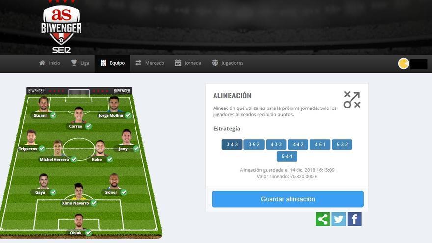 En AS Biwenger, antes de cada jornada hay que elegir la alineación de jugadores