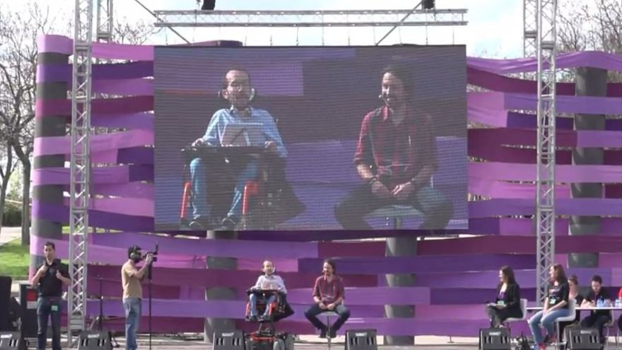 Pablo Iglesias y Pablo Echenique en el acto llamado Fiesta de la Primavera