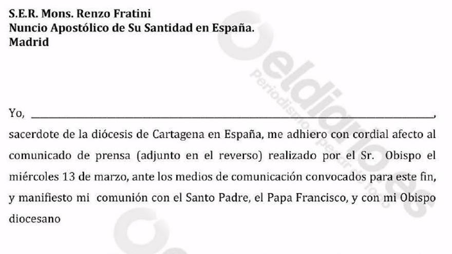 Documento que tiene que firmar el clero murciano en apoyo a Sebastián Chico