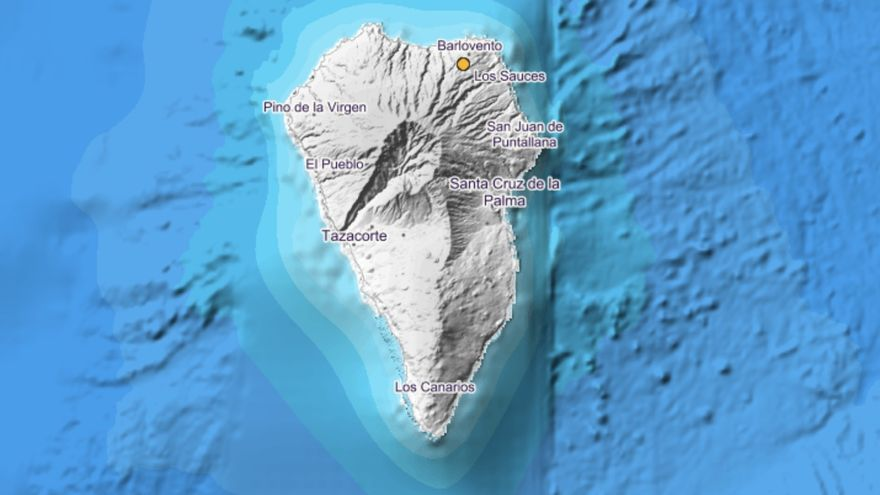 Imagen del IGN en la que se indica, con un círculo, el lugar exacto donde se ha localizado un movimiento sísmico este sábado, 31 de agosto, a las 19-54 horas, en el municipio de Barlovento.