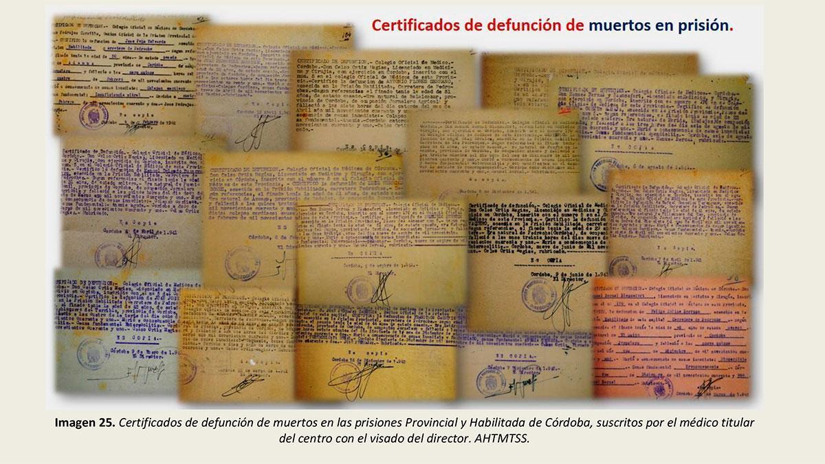 Certificados de defunción de muertos en las prisiones de Córdoba