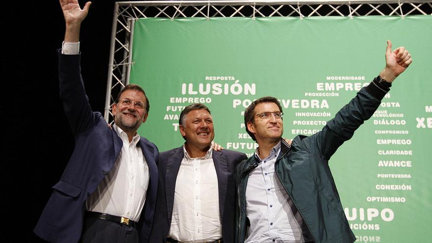 Martín, con Rajoy y Feijóo en una campaña electoral
