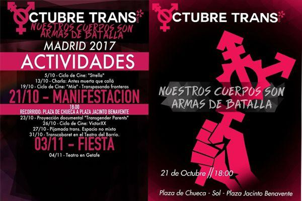 Carteles Manifestación Octubre Trans 2017
