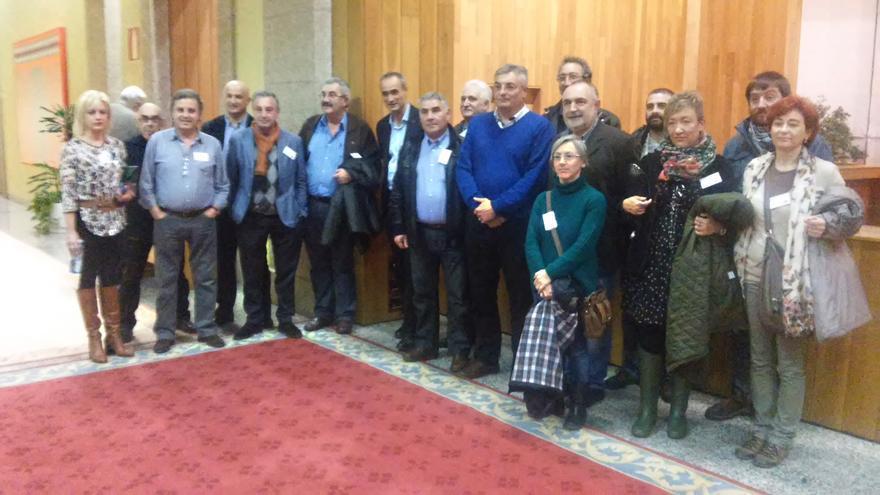 Impulsores de la ILP, con miembros de PSdeG y BNG en los pasillos del Parlamento / Merixo