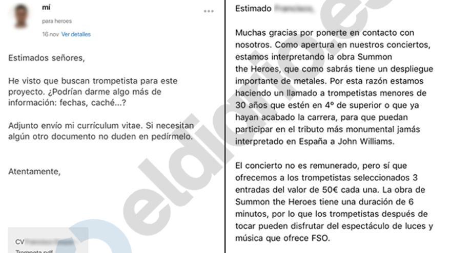Captura del intercambio de emails entre la Film Symphony Orchestra y Francisco Gaspar Tomás facilitadas por el propio músico