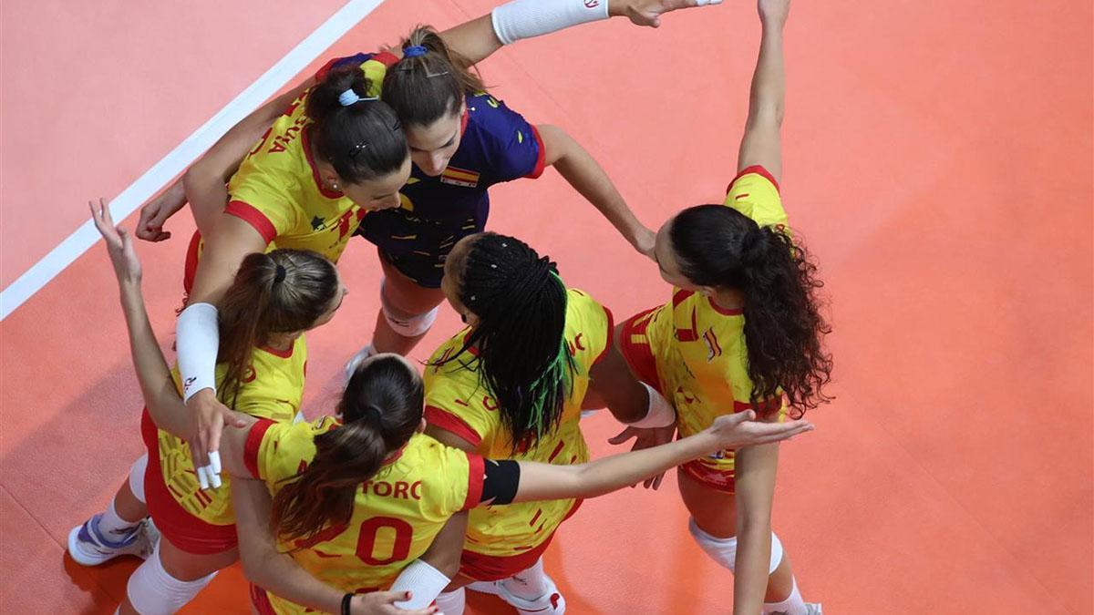 Jugadoras españolas celebrando un punto