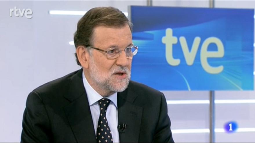 Rajoy, durante su entrevista en TVE