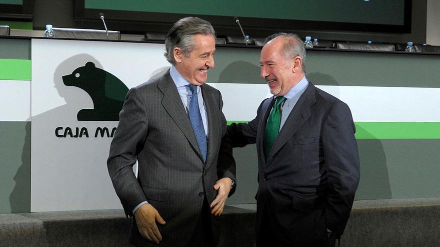 Miguel Blesa y Rodrigo Rato, el día en que el segundo fue nombrado presidente de Caja Madrid. Foto: EFE