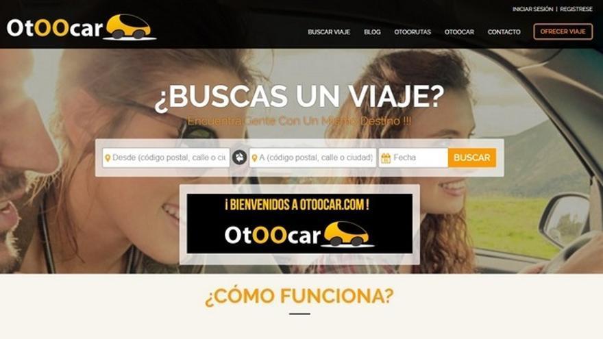 Captura de pantalla de la web Otoocar