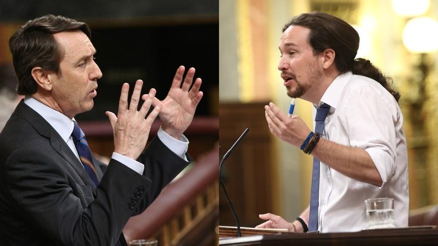 """Moción (y 29)- Iglesias acusa al PP de no ser """"honrados"""" y Hernando dice que no puede dar lecciones tras poner """"el cazo"""""""