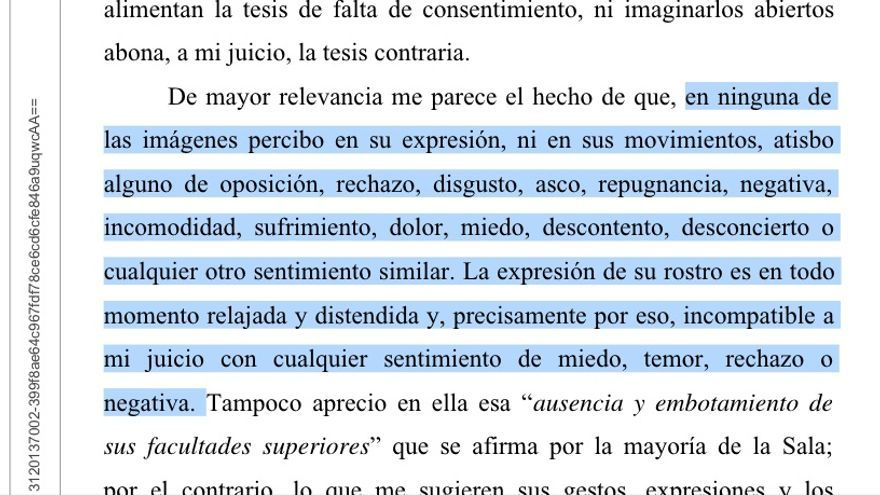 Parte de las consideraciones del voto particular del juez González, que pedía la absolución de 'la manada'.