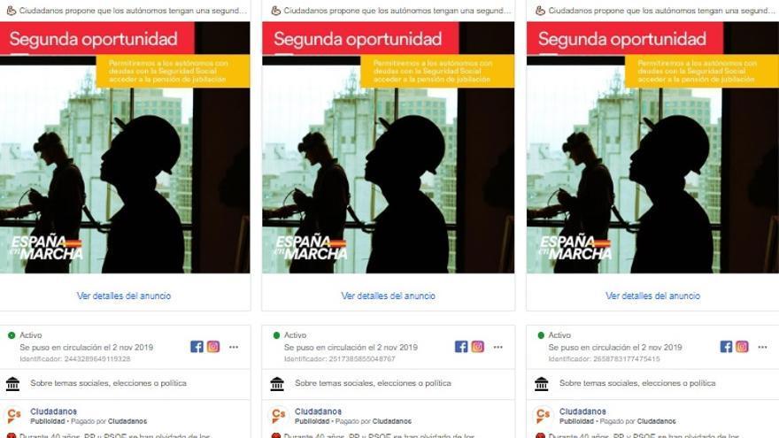 Anuncios de Ciudadanos en Facebook