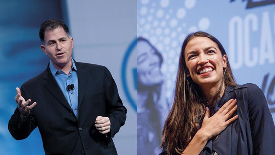 El fundador de Dell, Michael Dell, y la congresista demócrata Alexandria Ocasio-Cortez