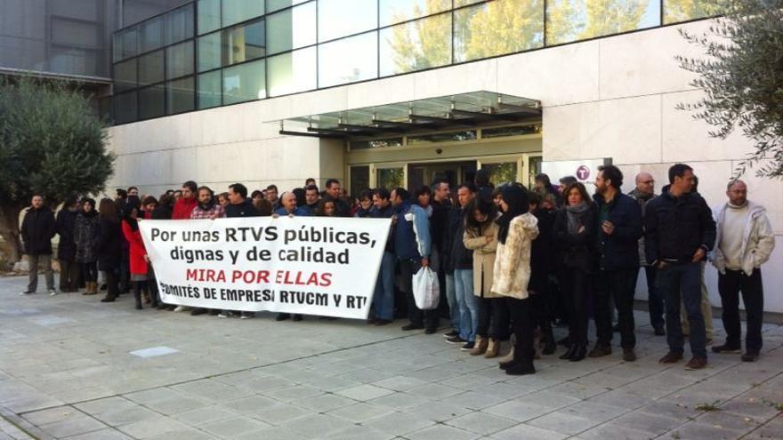 Manifestación del Comité de Trabajadores de CMT en contra del cierre de Canal Nou