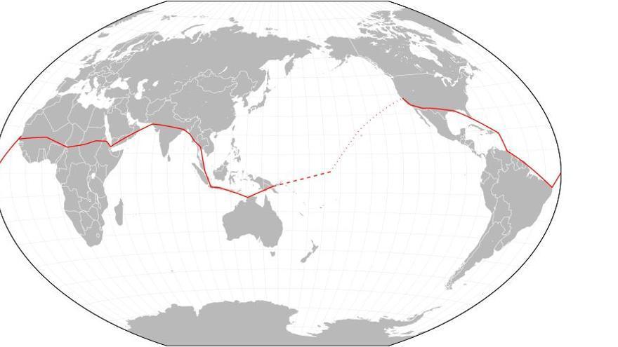 La ruta planeada para dar la vuelta al mundo. Mapa: Hellerick / Creative Commons