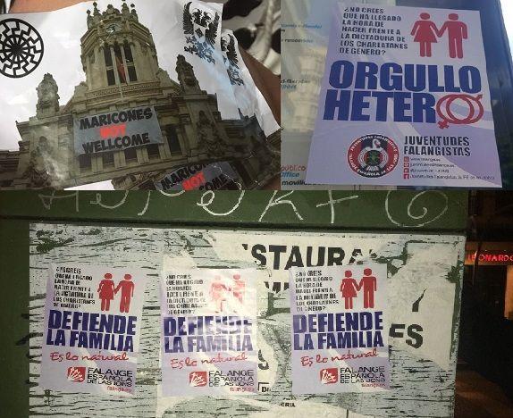 Algunos de los mensajes LGTBIfóbicos difundidos durante el WorldPride 2017 | Fotografías: Observatorio Madrileño contra la LGTBfobia