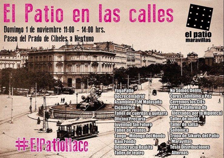 Cartel de actividades del Patio Maravillas este fin de semana en Madrid