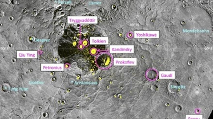 Nueve cráteres de Mercurio Gaudí, Kandinsky, Tolkien