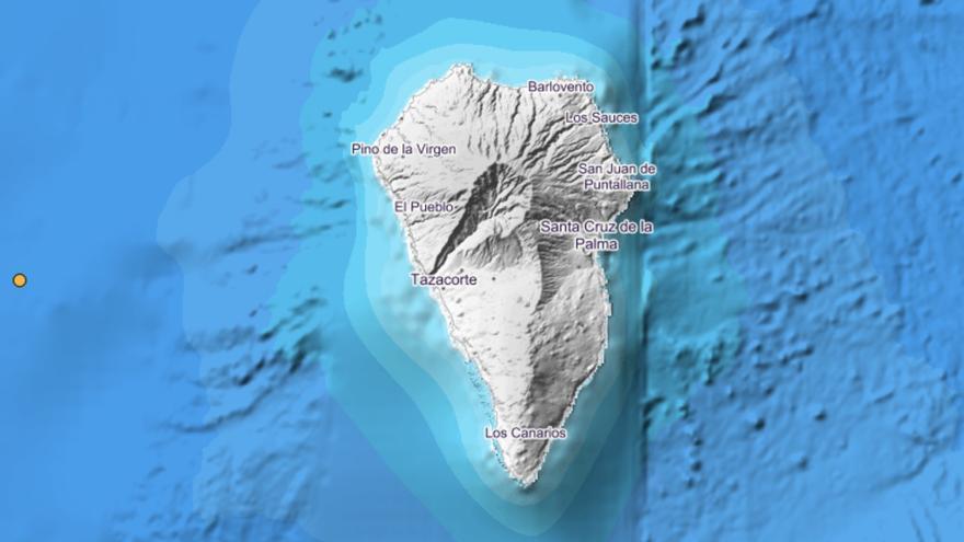 Imagen del IGN donde se indica el lugar exacto donde se ha localizado el movimiento sísmico este martes, a las 02.54 horas, en el mar, al oeste de La Palma.