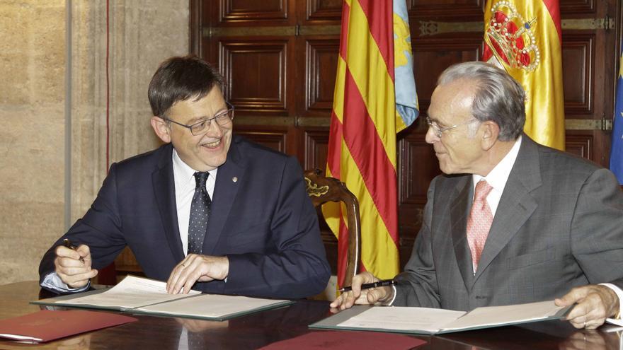 El jefe del Consell, Ximo Puig, y el presidente de la Fundación La Caixa, Isidro Fainé