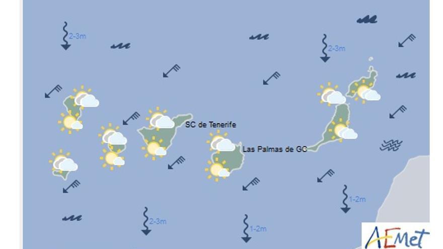 Mapa con la previsión meteorológica para este lunes, 13 de marzo de 2017