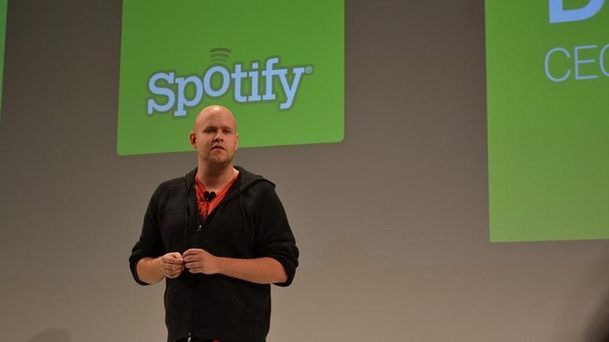 Daniel Ek, CEO de Spotify, durante una presentación