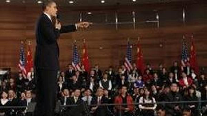 Barack Obama, durante su discurso en China. (REUTERS)