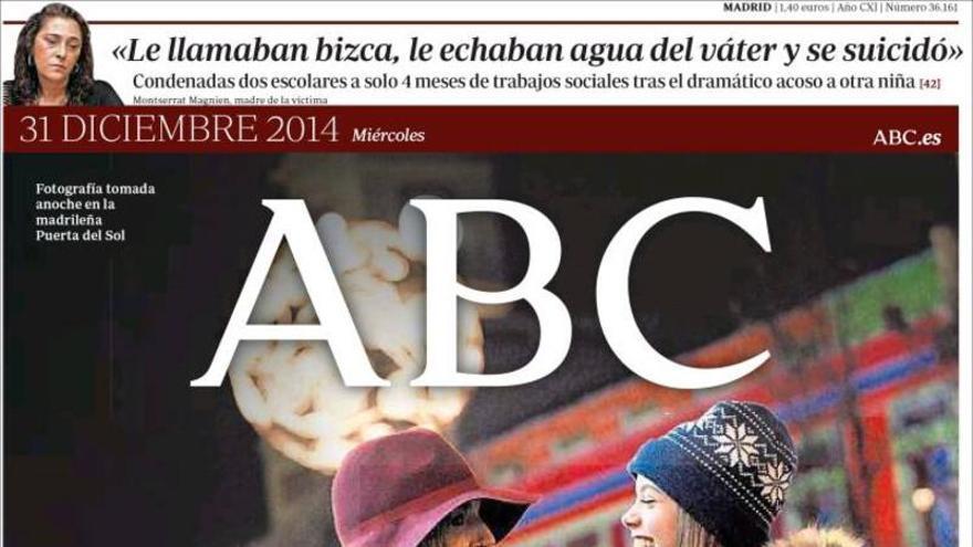 Portada del ABC el 31 de diciembre de 2014, última vez que se vendió en Canarias y Baleares.