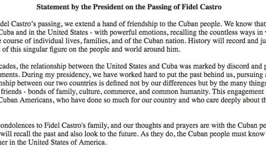 Comunicado de Barack Obama tras las muerte de Fidel Castro.