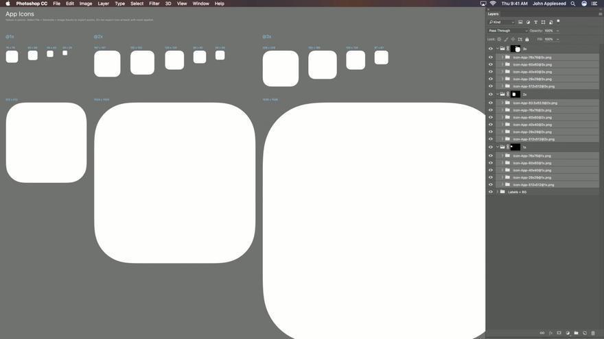 Plantilla proporcionada por Apple para crear iconos de aplicaciones