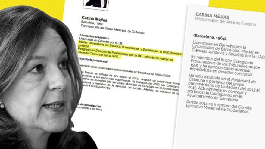Carina Mejías incluye en su currículum un máster y un posgrado que no ha realizado