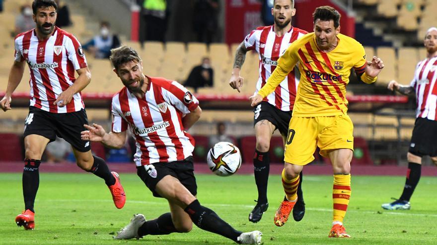 Messi y Yeray en la final de la Copa del Rey 2021
