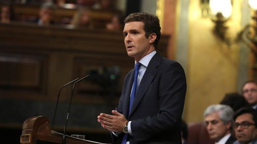 Casado reprocha a Sánchez no decir nada y eludir a Podemos e independentistas