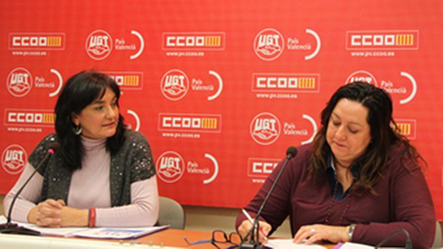 Las representantes de CCOO y UGT, Cándida Barroso y Elvira Ródenas, en rueda de prensa